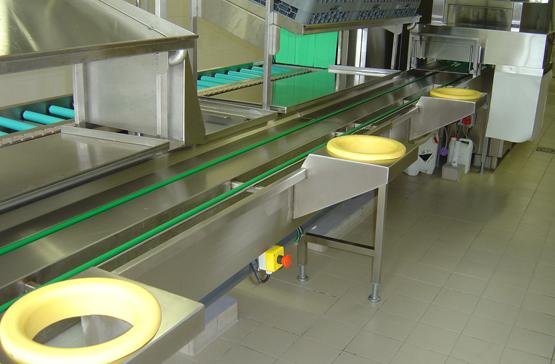 validex Conception, fabrication d'équipements de manutention mécanique pour les laveries . Dishware handling system leader.